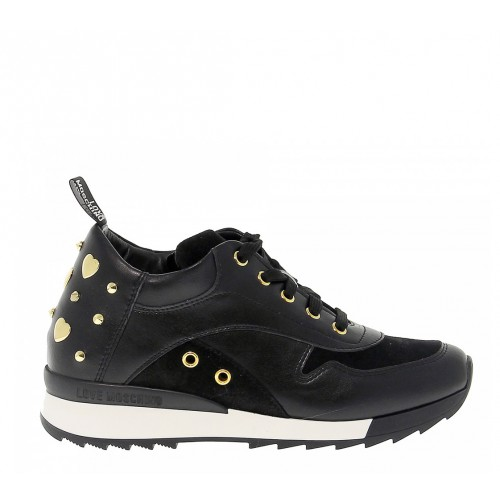 Love Moschino black trainers with gold studs