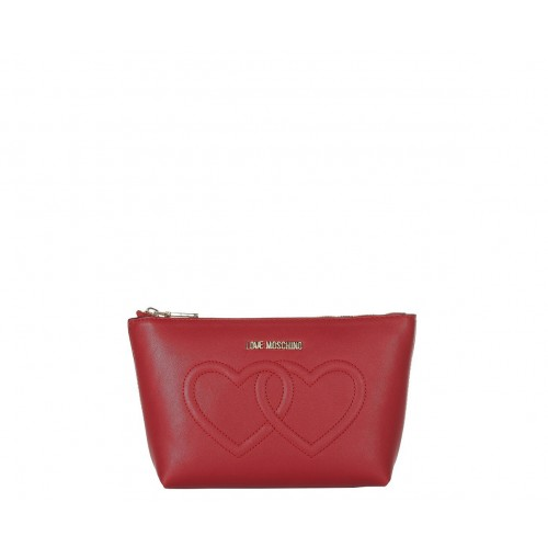 Love Moschino red pouch with hearts