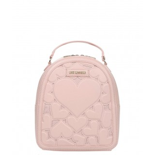 Love Moschino pink backpack with heaets