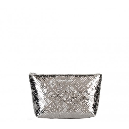 Love Moschino silver patent leather pouch