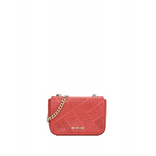 Love Moschino small red bag with logo embossed