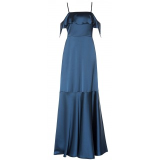 MI-RO Blue Cold-Shoulder Dress