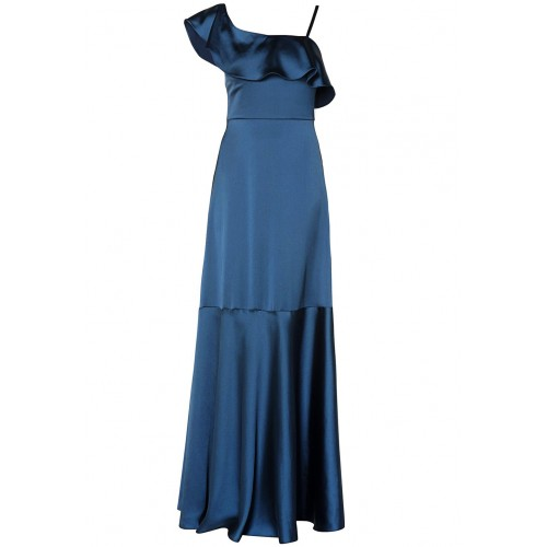 MI-RO designers one-shoulder blue satin dress