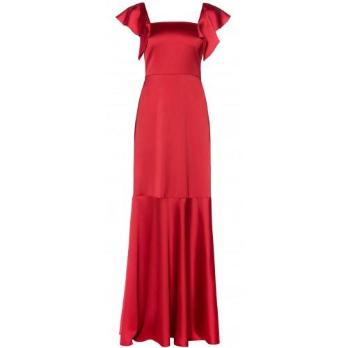 MI-RO maxi red satin dress
