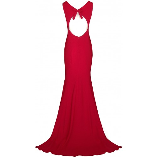 Red crepe dress with open back