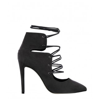 Sante black lace-up heels