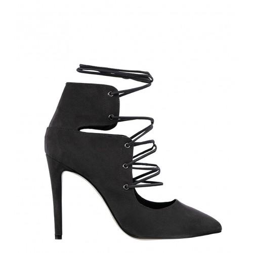 Sante black lace-up heels