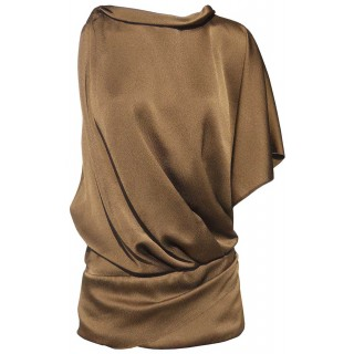 Anna Molinari bronze draped silk blouse